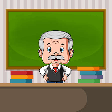 The illustration of the teacher standing at the back of the desk with a lot of the book
