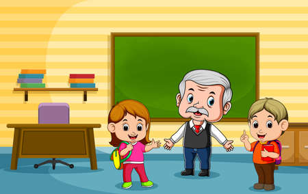 The animation of the student talking with their teacher after the class Stock fotó - 156410972