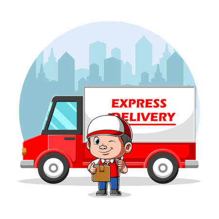 The animation of the courier holding the box for the delivery express Stock fotó - 156410373
