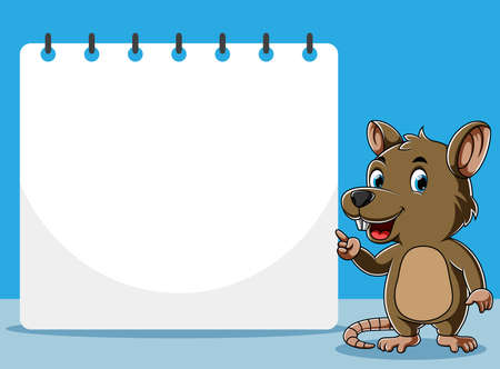 The illustration of the rat standing and pointing the blank paper beside him