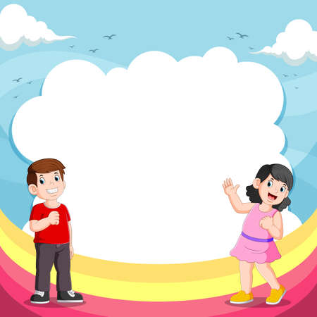 The illustration of the girl and her friend talking with the blank bubble speech