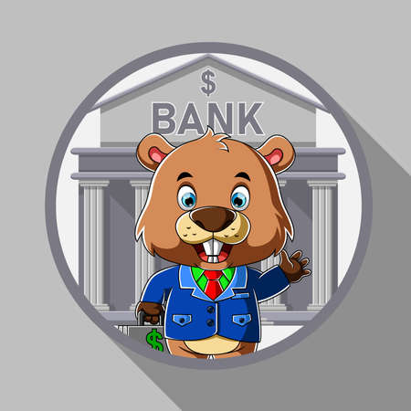 The cartoon of the employee beaver standing in front of the bank from the round frame Illusztráció
