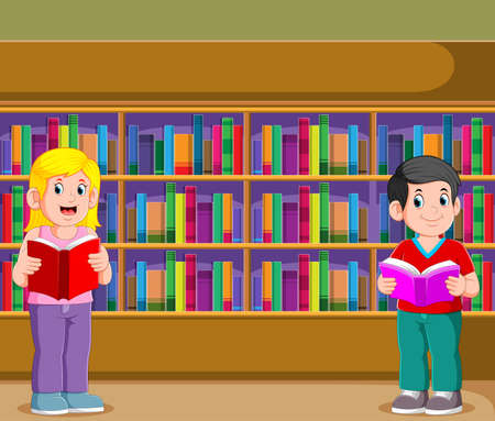 The illustration of the boy and the girl holding and reading the book in the library