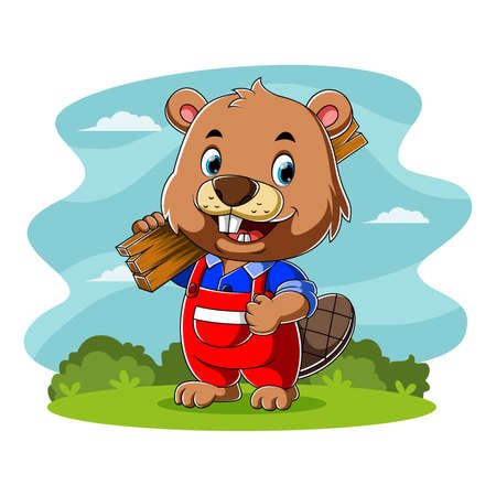 The cartoon of the carpenter beaver holding a board of the wood for making a house