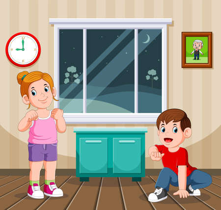 The illustration of the boy and his sister doing the night sport at their home