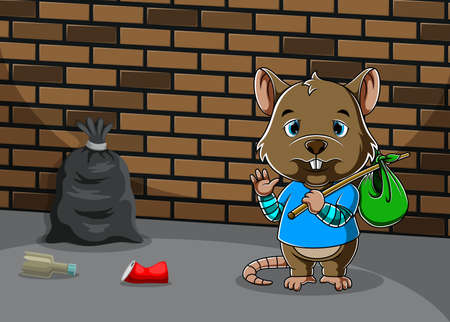 The illustration of beggar mouse standing and holding his bag with the sad face