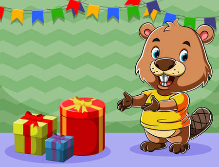 The cartoon of the beaver celebrate his birthday with a lot of gift beside him Illusztráció