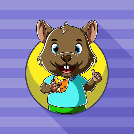 The cartoon of the mouse holding a square delicious cheese in his hand with the happy face
