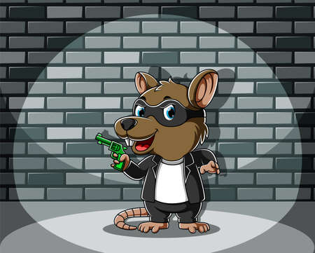 The illustration of the criminal mouse standing and holding the green gun Illusztráció