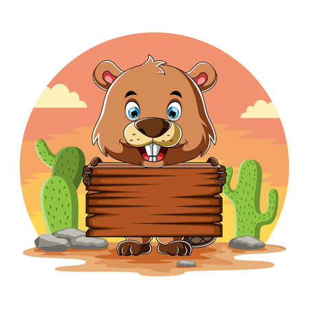 The cartoon of the beaver holding the blank wooden board and standing near the cactus Иллюстрация