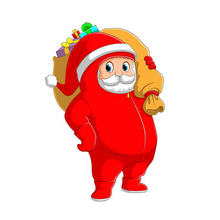 The illustration of the Santa clause using the personal protective equipment's and holding the big sack of gift