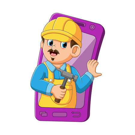 The illustration of the architect using the yellow helmet came out from the purple mobile smartphone