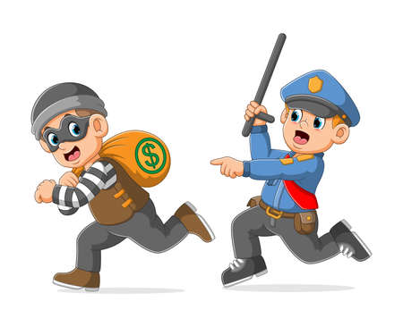 The police is pursue catch the thief holding bag money of illustration Vetores