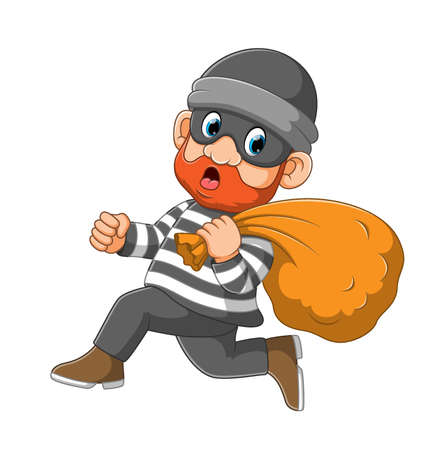 The thief with the mask is running to get a way from the police of illustration