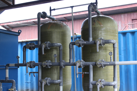 ware house: Pumps and piping system filtration and water purification of ware house Stock Photo