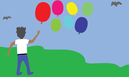 baloon: Vector Illustration Boy and Baloon in the outdoor