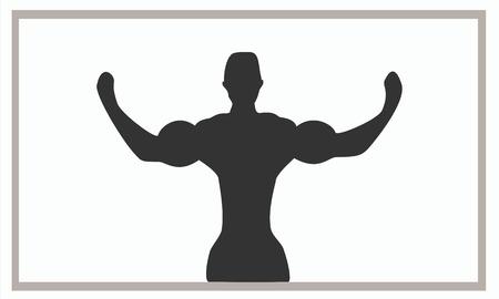 siluet: siluet bodybuilding show the bicep at frame Illustration