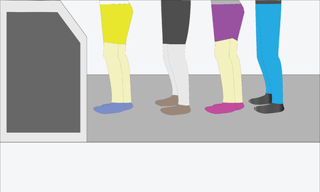 queuing: Vector illustration Queued and orderly at Atm