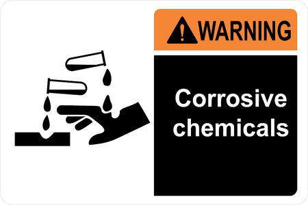 Safety sign corrosive chemicals Vectores
