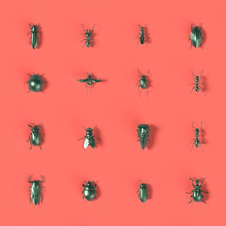 mosaic of 3d rendered insects on coral background