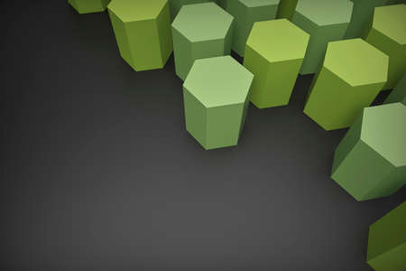 3D render, green hexagonal paper shapes arranged on a dark gray background, illustration 免版税图像