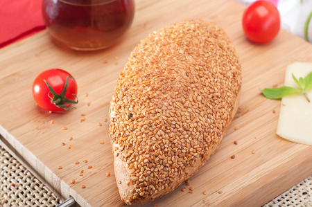 Close up of traditional Turkish pastry pogaca with sesame