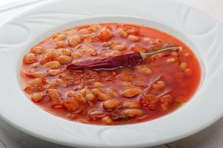 kuru: Detail from kuru fasulye - dried beans stew - plate Stock Photo