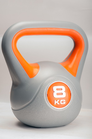 Close up of a 8 kilogram kettle bell