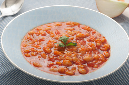 kuru: Close up of traditional Turkish meal Kuru Fasulye Stock Photo