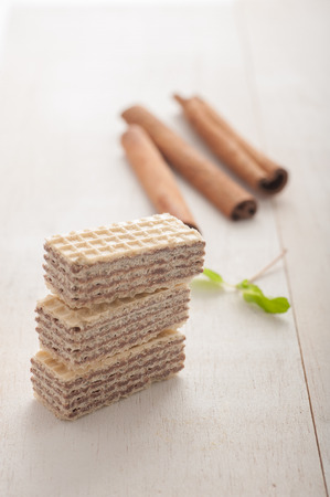 Close up of wafers with hazelnut cream, cinnamon and mint Stok Fotoğraf