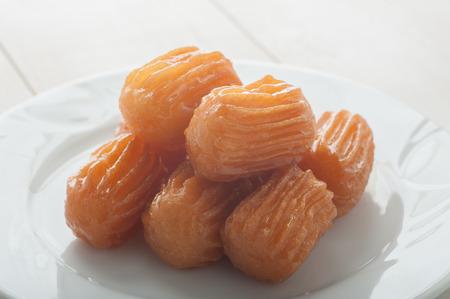 Close up of traditional turkish dessert tulumba