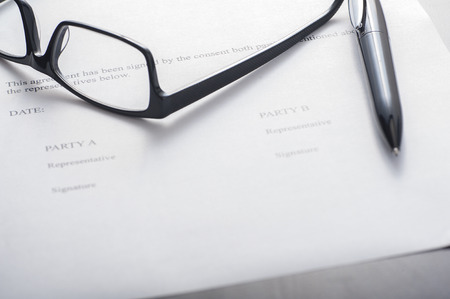 Close up of a signature page of an agreement, blank Stok Fotoğraf