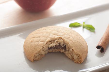 Schließen Sie ein Apfelkuchen Plätzchen mit Zimt oben Standard-Bild - 43354910
