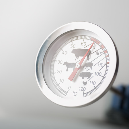 Close up of a meat thermometer showing cooking temperature for beef Stok Fotoğraf