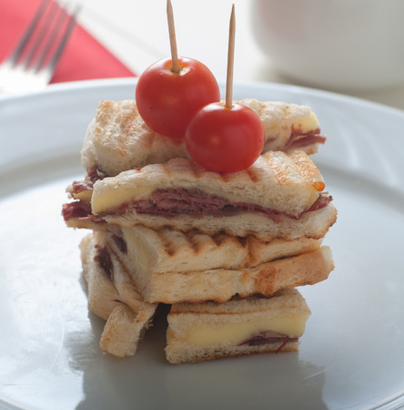 cow tongue: Famous Turkish toast with cow tongues and cheddar dilli kasarli tost Stock Photo