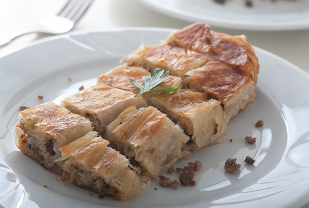 Close up of a plate of delicious Turkish borek called kol boregi