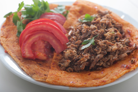 Close up of Turkish speciality kokorec, a favourite for after drinking evenings