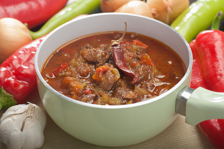 Close up of a pot of delicious slow cooked meat stew