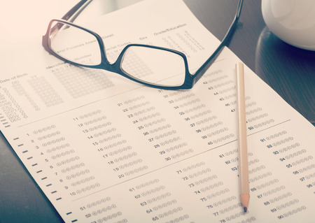 Close up of an empty standardized test form
