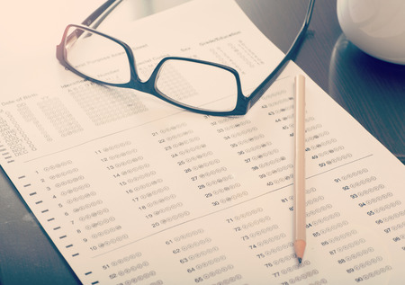 Close up of a filled standardized test form