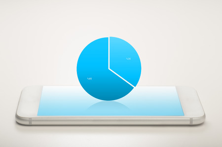 Pie chart on a mobile device showing growth
