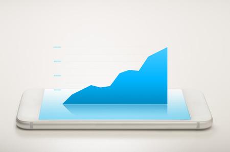 Flächendiagramm auf einem mobilen Gerät zeigt das Wachstum Standard-Bild - 52246301