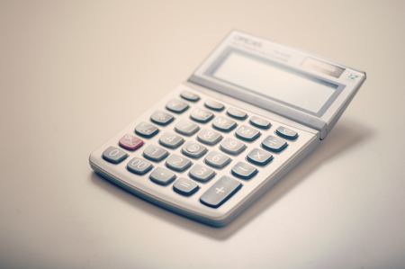 Close up of a calculator on desk