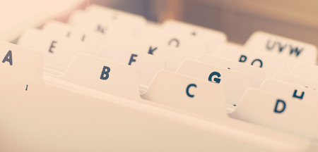 Extreme close up of an alphabetical organizer tray used to store business cards