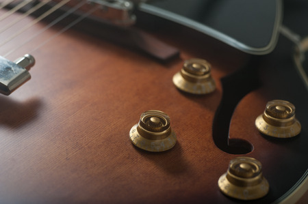 Close up of a classical hollow body jazz guitar Stok Fotoğraf