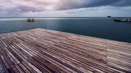 Wooden Beach Dock, Wooden Pier at Beautiful Tropical Sea