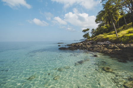 Granite Rock, Clear Sea Water and Tropical Beach Landscape