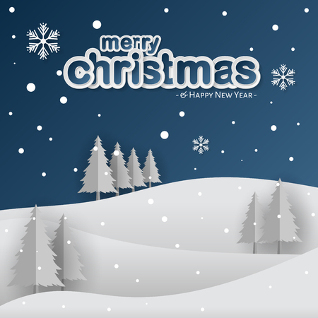 Merry Christmas and Winter Background, Modern Paper Cut Style