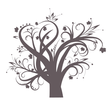 Stylized tree with leaves for design Vector
