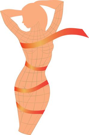 Woman's body with orange ribbon. Vector illustration.